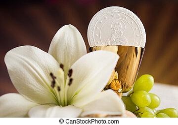 dorado, flor, símbolo, cristianismo, cáliz, religión, uvas,...