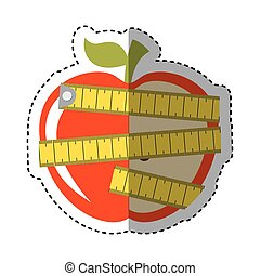 apple with tape measure icon