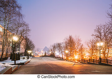 Night Street View Of Lenin With Gogol Street In Evening Or...