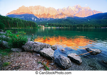 Eibsee - Fantastic sundown on mountain lake Eibsee, located...