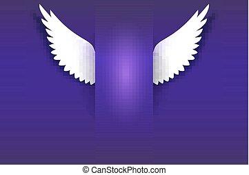 Angel wings hovering in the dark