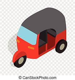 Red tuk tuk isometric icon 3d on a transparent background...