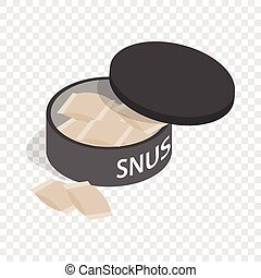 Swedish snus, chewing tobacco isometric icon 3d on a...
