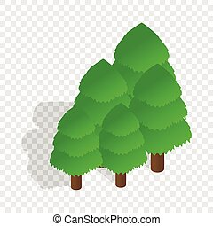 Trees isometric icon 3d on a transparent background vector...