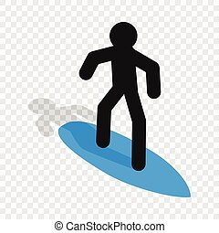 Surfer isometric icon 3d on a transparent background vector...