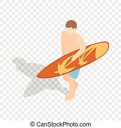 Surfer carries his surfboard isometric icon 3d on a...