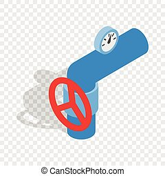 Pipe with a red valve and meter isometric icon