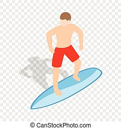 Surfer man on surfboard isometric icon 3d on a transparent...