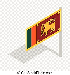 Flag of Sri Lanka with flagpole isometric icon 3d on a...