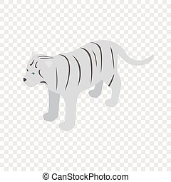 White tiger isometric icon 3d on a transparent background...