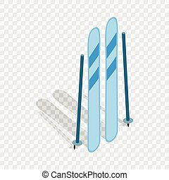 Ski equipment isometric icon 3d on a transparent background...