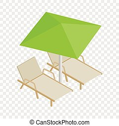 Deckchair and parasol isometric icon 3d on a transparent...