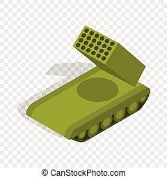 Multiple launch rocket system isometric icon 3d on a...