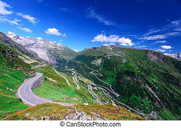 pass - Amazing view of alpine pass, Switzerland, Europe.