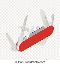 Pocket knife isometric icon 3d on a transparent background...
