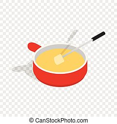 Cheese fondue isometric icon 3d on a transparent background...