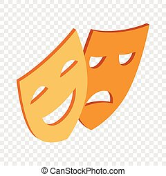 Comedy and tragedy theatrical masks isometric icon 3d on a...