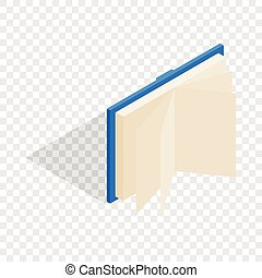 Blue open book isometric icon