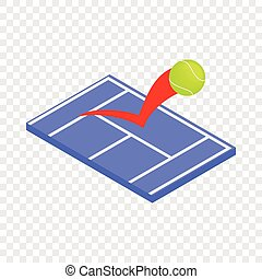 Flying tennis ball on a blue court isometric icon 3d on a...