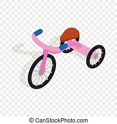 Pink tricycle isometric icon 3d on a transparent background...