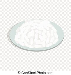 Bowl of rice isometric icon 3d on a transparent background...