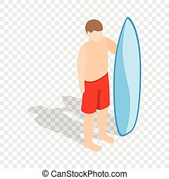 Surfer man with surfboard isometric icon - Surfer man with a...