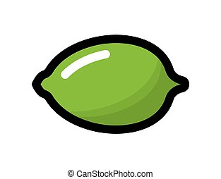 Lime - Vector illustration of the green ripe lime on a white...