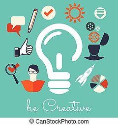 Creativity - Vector illustration of the be creative concept...