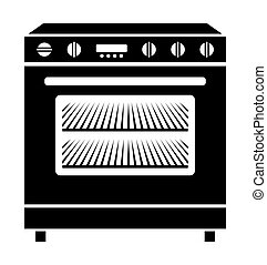 Oven - Vector illustration of the kitchen oven in black