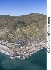Pacific Coast Highway at Point Mugu California - Aerial view...