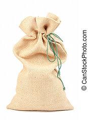 burlap pouch - Empty burlap pouch on white background
