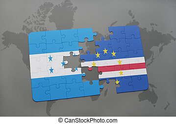 puzzle with the national flag of honduras and cape verde on...