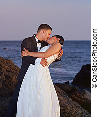 sposa, sposo, spiaggia, Baciare