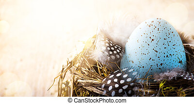 art happy Easter day; Easter egg and Bird feather