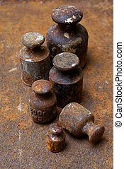 Old weights for scales - Backgrounds and textures: group of...