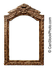 Old wooden frame - Isolated objects: very old carved empty...