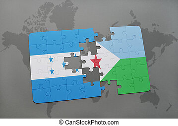 puzzle with the national flag of honduras and djibouti on a...