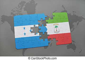 puzzle with the national flag of honduras and equatorial...
