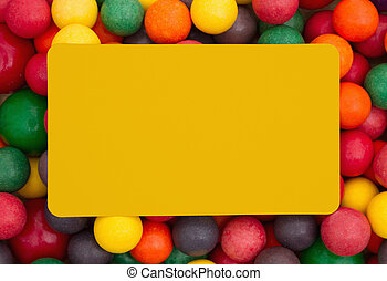 Colorful multi colored bubble gum background with yellow...