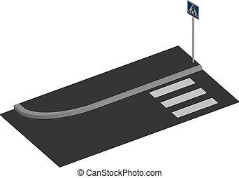 Pedestrian crossing in 3D, vector