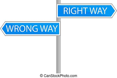 Traffic sign choice of path, vector