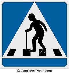 Traffic sign pedestrian crossing elderly, vector