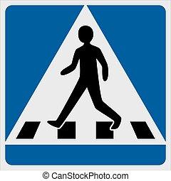 Traffic sign pedestrian crossing, vector