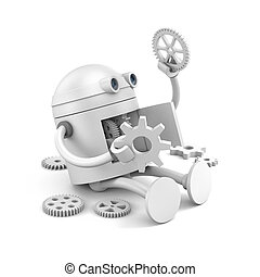 Broken robot considers the details of its mechanism for your website projects. 3d illustration