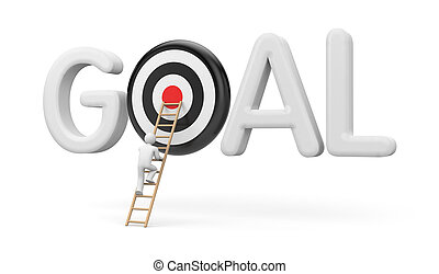 Man climbs to the stairs to the target goals. 3d...