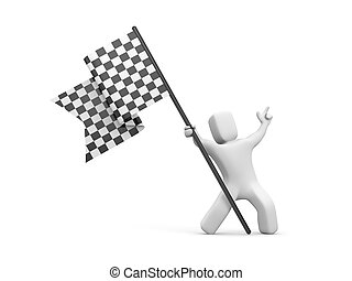 3d man holding a black and white checkered flag. 3d people...