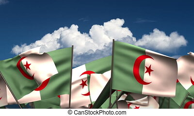Waving Algerian Flags (seamless & alpha channel)