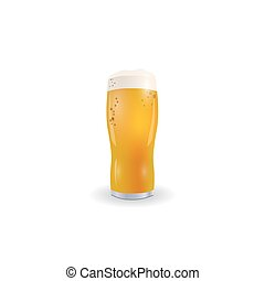 Glass picture with a light beer. Isolated on white background. illustration