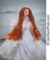 beautiful girl like a swan on the beach - beautiful girl...