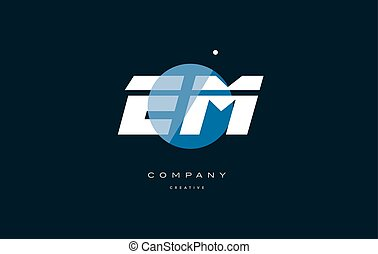 em e m blue white circle big font alphabet company letter...